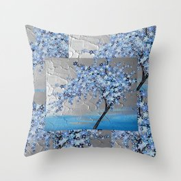 blue cherry blossom with silver grey gray white tree trees japanese japan beautiful prints Throw Pillow