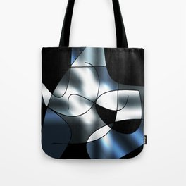 ABSTRACT CURVES #1 (Black, Grays & White) Tote Bag
