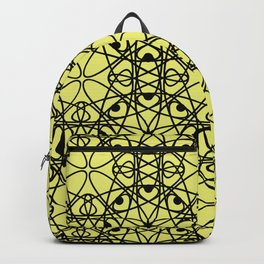 Black fishnet pattern on a bright yellow background Backpack