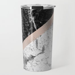 Monochrome marble designer - rose gold Travel Mug