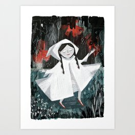 Red Shoes on Curtain Day Art Print