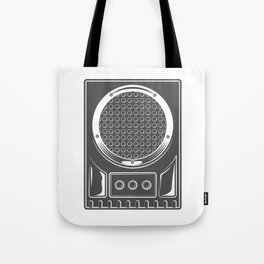 Vintage music concert audio loudspeaker in monochrome style illustration Tote Bag