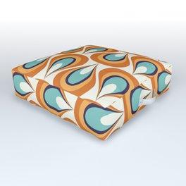 Retro Mid Century Modern Geometric Flame in Orange and Turquoise Outdoor Floor Cushion