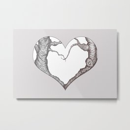 Two Trees in Love Sweetheart Valentine Illustration Metal Print