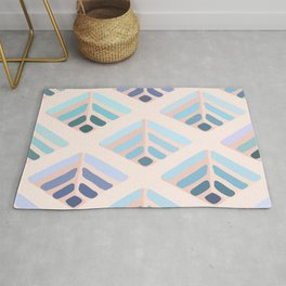 Abstract geometry blue pattern  Rug