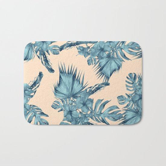 Island Retreat Hibiscus Palm Pastel Coral Teal Blue Bath Mat