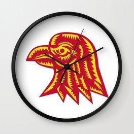 Eagle Head Side Woodcut Wall Clock