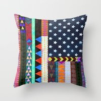 boho Throw Pillows featuring Boho America by Schatzi Brown