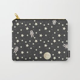 Space - Stars Moon and Astronauts on black Carry-All Pouch