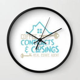 Coffee Contracts & Closing Real Estate Realty Realtor Agent Property Building House T-shirt Design Wall Clock