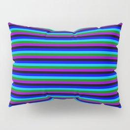 Eye-catching Blue, Deep Sky Blue, Green, Dark Violet & Black Striped/Lined Pattern Pillow Sham