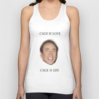nicolas cage Tank Tops featuring Cage is Love // Cage is Life by Jared Cady