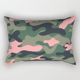 Girlie Green Pink Camouflage Rectangular Pillow