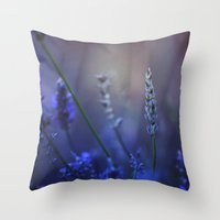 lavender Throw Pillows featuring Lavender by Nikita Gill