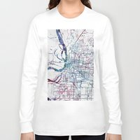 memphis Long Sleeve T-shirts featuring Memphis map by MapMapMaps.Watercolors