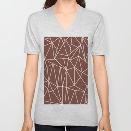 Geometric Cobweb (White & Brown Pattern) Unisex V-Neck