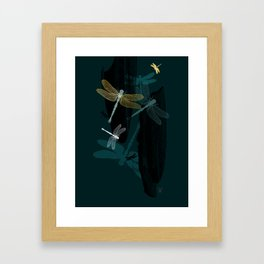 Midnight Dragonflies Framed Art Print