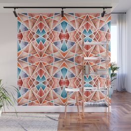 Teal and Rust Geometric Kaleidoscope Wall Mural
