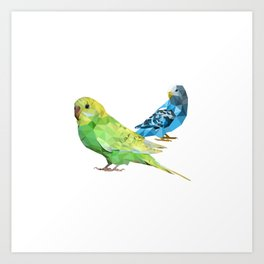 Geometric green and blue parakeets Art Print