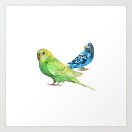 Geometric green and blue parakeets Art Print
