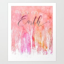 Peace on Earth Card in White Art Print