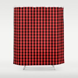 Large Black and Donated Kidney Pink Halloween Gingham Check Shower Curtain