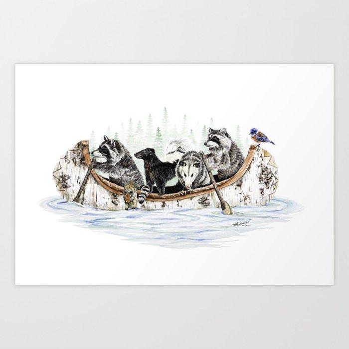 """ Critter Canoe "" wildlife rowing up river Kunstdrucke"