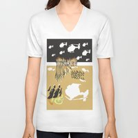 war V-neck T-shirts featuring war by DONA USTRA