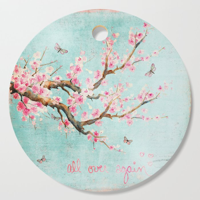 0edb8c082 Its All Over Again - Romantic Spring Cherry Blossom Butterfly Illustration  on Teal Watercolor Cutting Board
