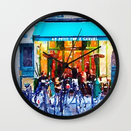 Little Paris Cafe with Bicycles  Wall Clock