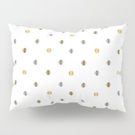 Silver and Gold Polka Dot Design Pillow Sham