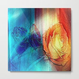 Misty Roses Of Orange And Blue By Annie Zeno Metal Print