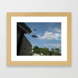 Humming bird on a feeder Framed Art Print