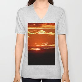 Red Gold Sunset in the Clouds Unisex V-Neck