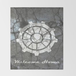 Fallout inspired welcome home, vault door, print, poster, wall art, neutral Throw Blanket