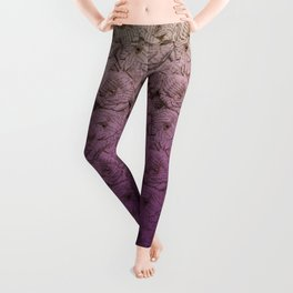 Purple Ombre Book Page Flower Roses Leggings