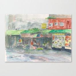 Sketch of Traditional Market, Taipei, Taiwan Canvas Print