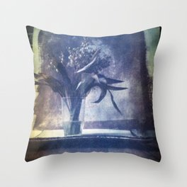 SILL LIFE WITH DEAD LILIES OF THE VALLEY . Film photography. Throw Pillow