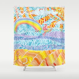 Sea beach with a rainbow and shells - abstract doodle colorful landscape Shower Curtain