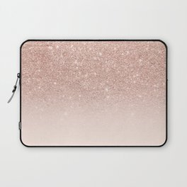 Rose gold faux glitter pink ombre color block Laptop Sleeve