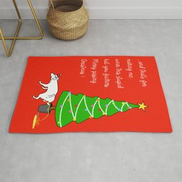 Naughty Dog Christmas Greeting Rug