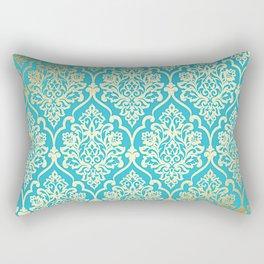 Teal Gold Mermaid Damask Pattern Rectangular Pillow