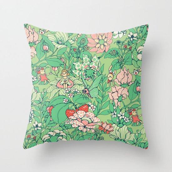 Garden party - sage tea version Throw Pillow