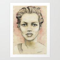 kate moss Art Prints featuring Kate Moss by Matthäus Rojek