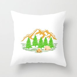 Womens Camping Gift Print Queen Of The Camper Print Throw Pillow