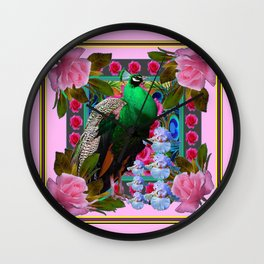 PINK ON  PINK ROSES & GREEN PEACOCK GARDEN FLORAL Wall Clock