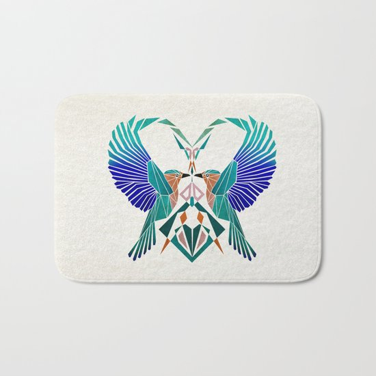 couple of blue birds Bath Mat