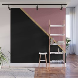 Trendy Glitter Rose Gold and Black Triangle Design Wall Mural