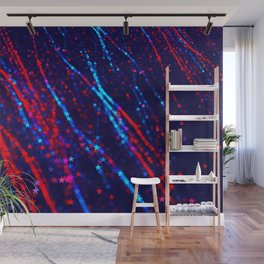 Red Blue Purple Stars Neon Glitter Confetti Colorful Pattern Fourth of July Presidents Day Fractal Wall Mural