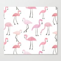flamingos Canvas Prints featuring Flamingos by Abby Galloway